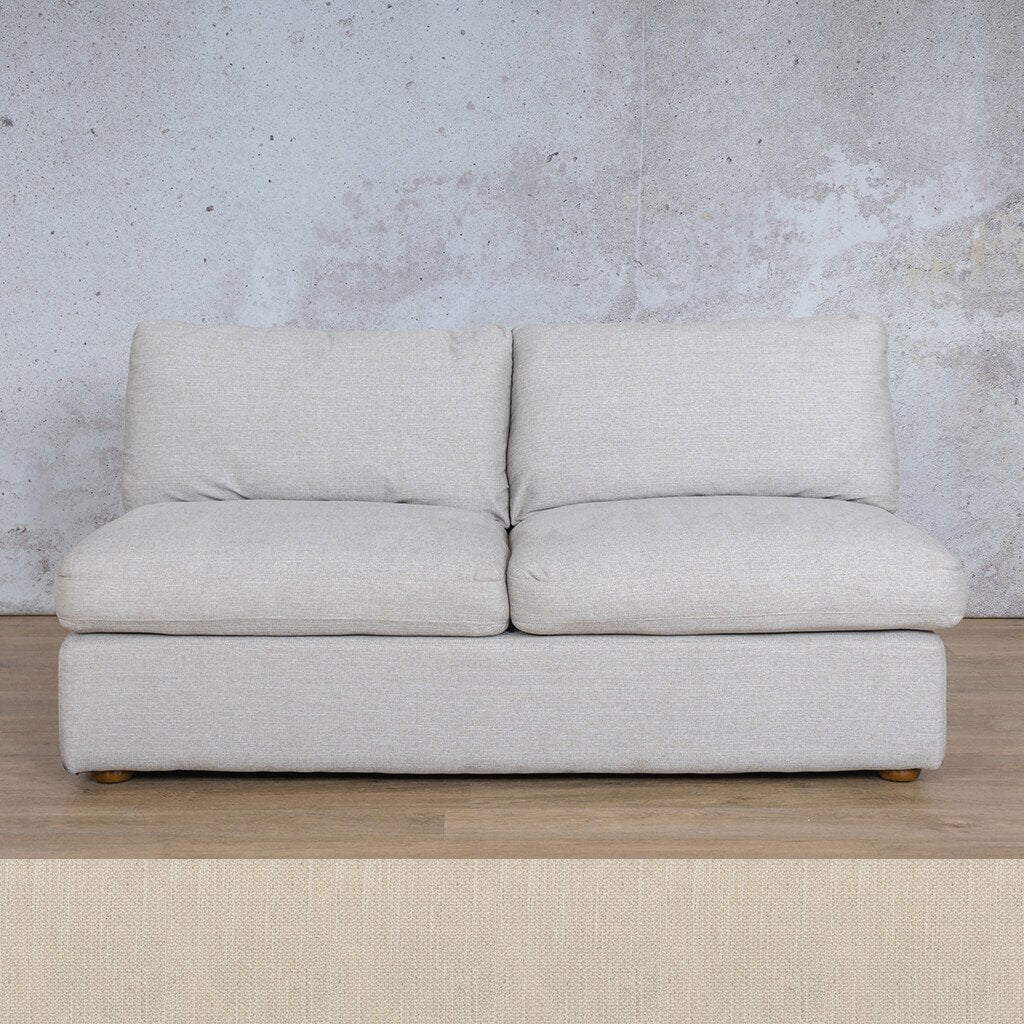 Skye Fabric Corner Couch | Armless 2 Seater Couch | Frost Cream | Couches For Sale | Leather Gallery Couches