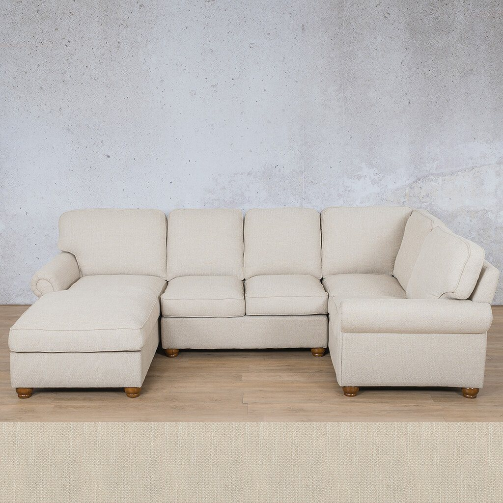 Salisbury Fabric Corner Couch | U-Sofa Chaise Sectional-LHF | Frost Cream | Couches For Sale | Leather Gallery Couches