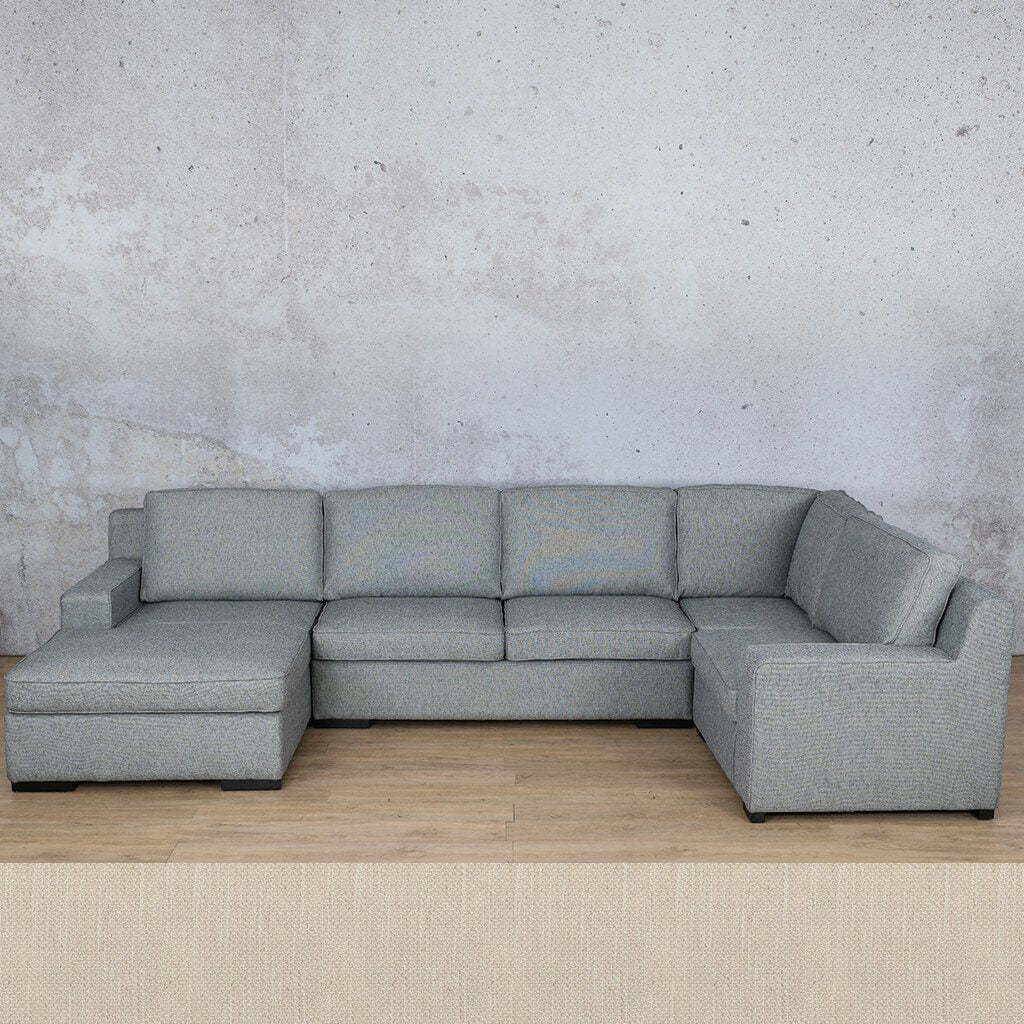 Arizona Fabric Corner Couch | U-Sofa Chaise Sectional-LHF | Frost Cream | Couches For Sale | Leather Gallery Couches