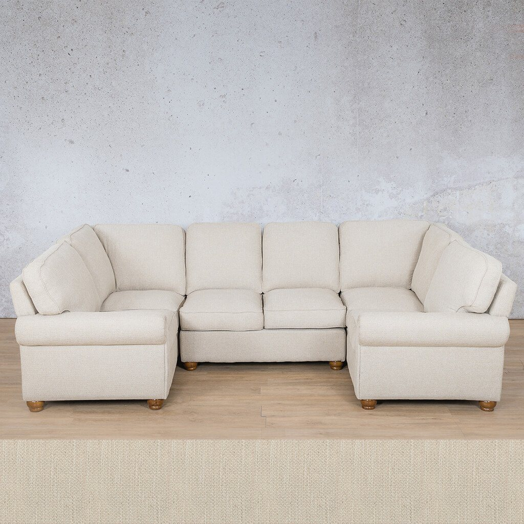 Salisbury Fabric Corner Couch | U-Sofa Sectional Couch | Frost Cream | Couches For Sale | Leather Gallery Couches