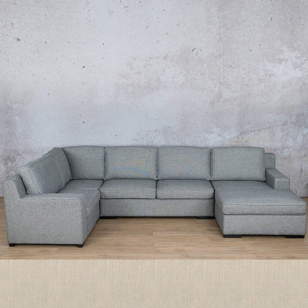 Arizona Fabric Corner Couch | U-Sofa Chaise Sectional-RHF | Frost Cream | Couches For Sale | Leather Gallery Couches