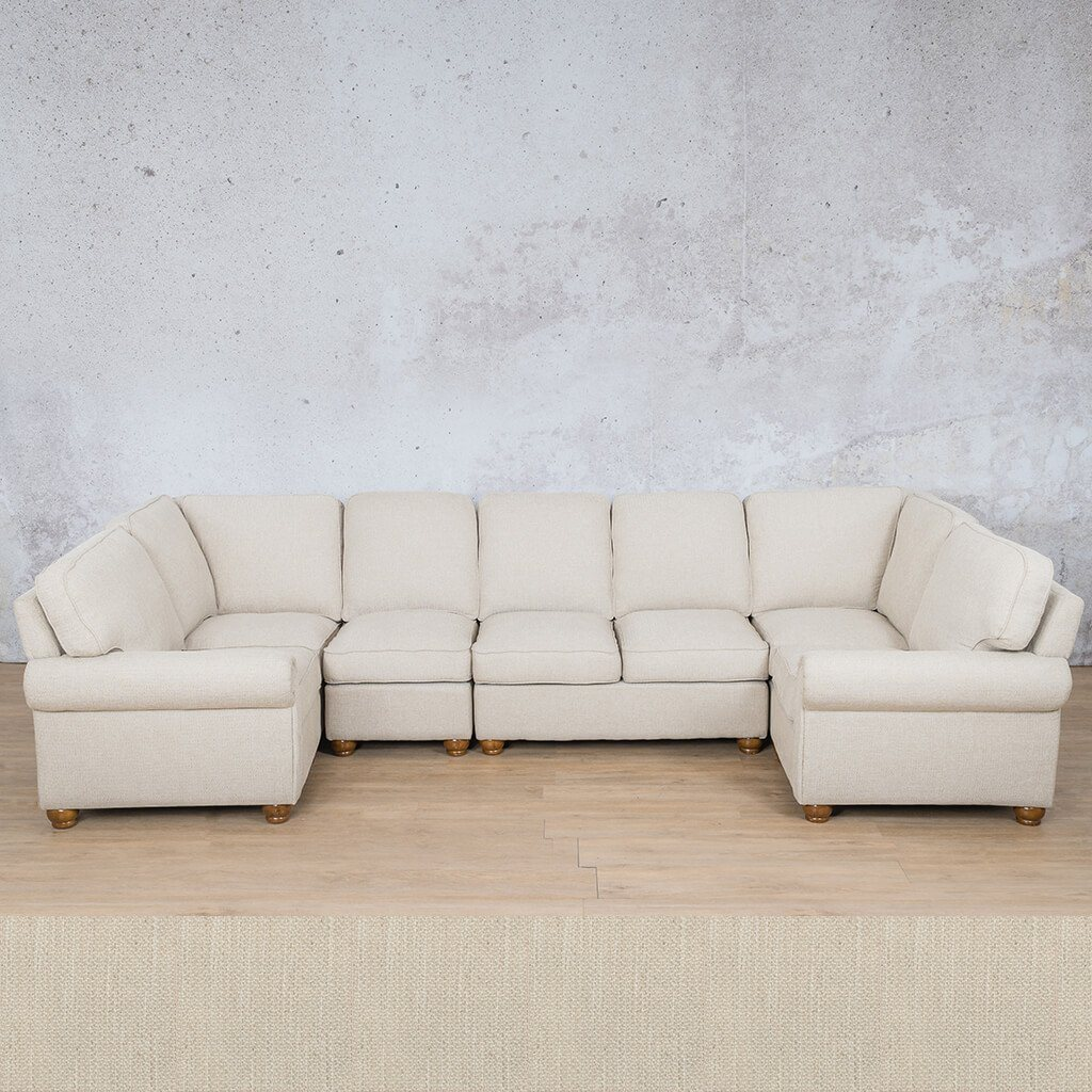 Salisbury Fabric Corner Couch | Modular U-Sofa Sectional | Frost Cream | Couches For Sale | Leather Gallery Couches