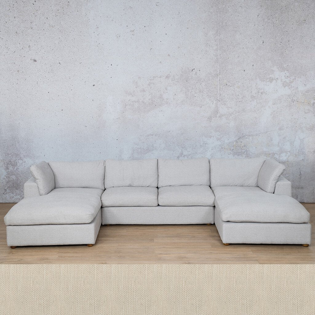 Skye Fabric Corner Couch | U-Sofa Sectional | Frost Cream | Couches For Sale | Leather Gallery Couches