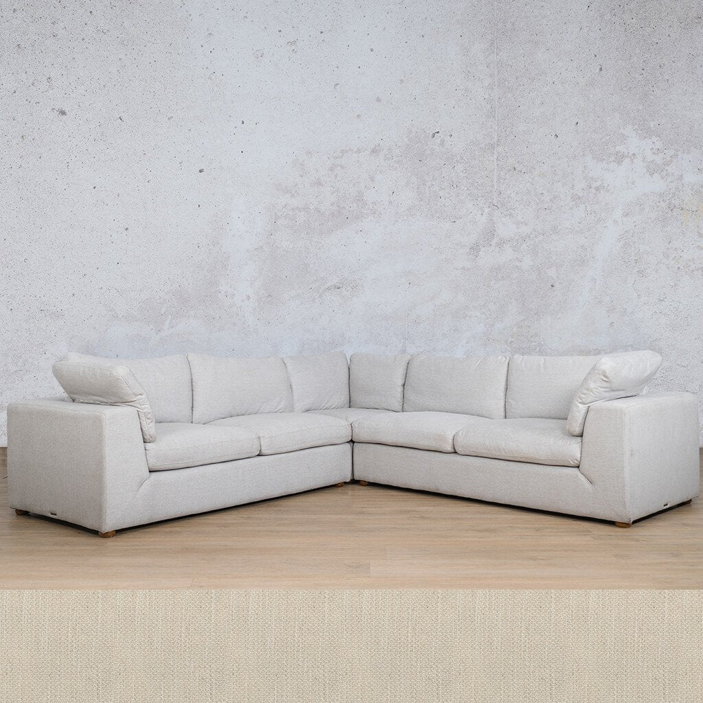 Skye Fabric Corner Couch | L-Sectional 5 Seater | Frost Cream | Couches For Sale | Leather Gallery Couches