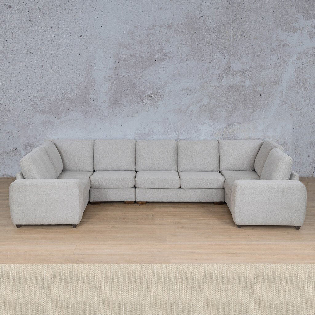 Stanford Fabric Corner Couch | Modular U-Sofa Couch | Frost Cream | Couches For Sale | Leather Gallery Couches