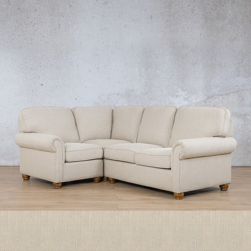 Salisbury Fabric Corner Couch | L-Sectional 4 Seater-LHF | Frost Cream | Couches For Sale | Leather Gallery Couches