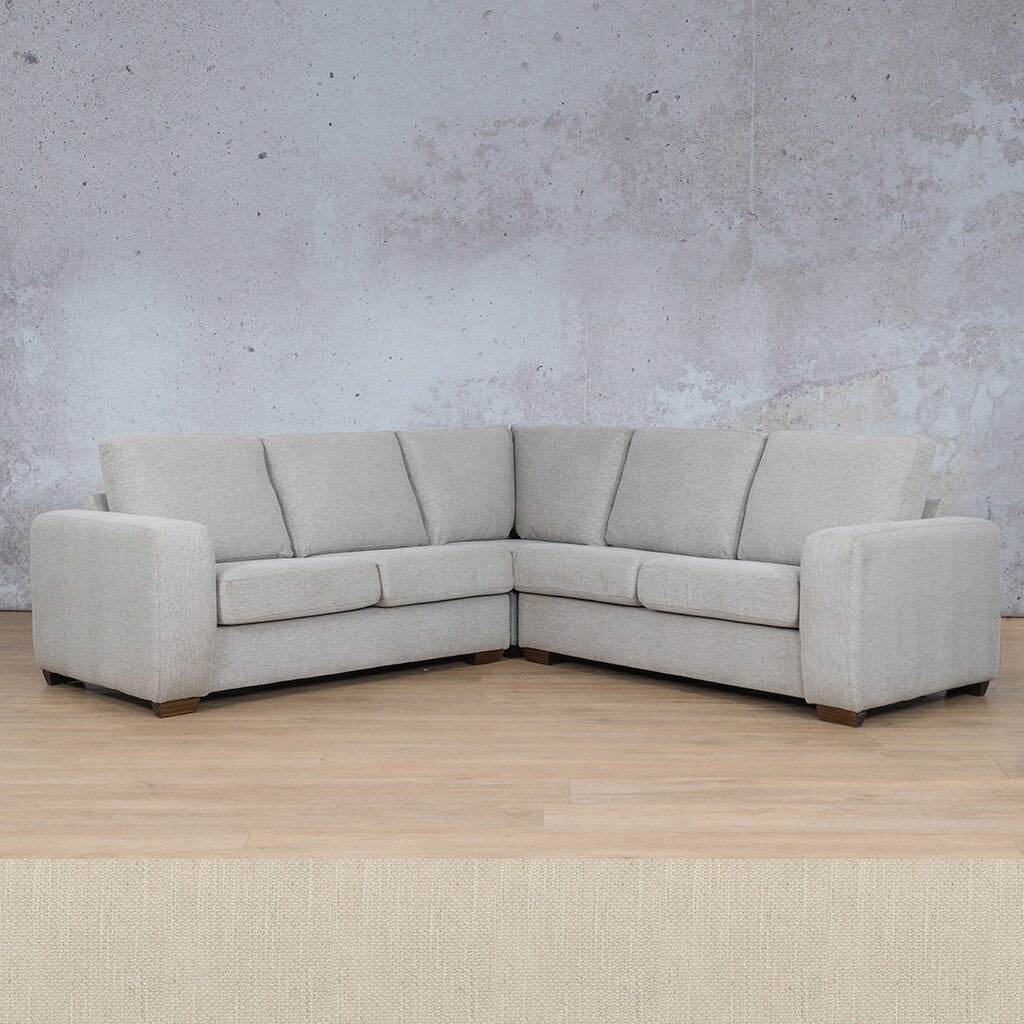 Stanford Fabric Corner Couch | L-Sectional 5 Seater Couch | Frost Cream | Couches For Sale | Leather Gallery Couches