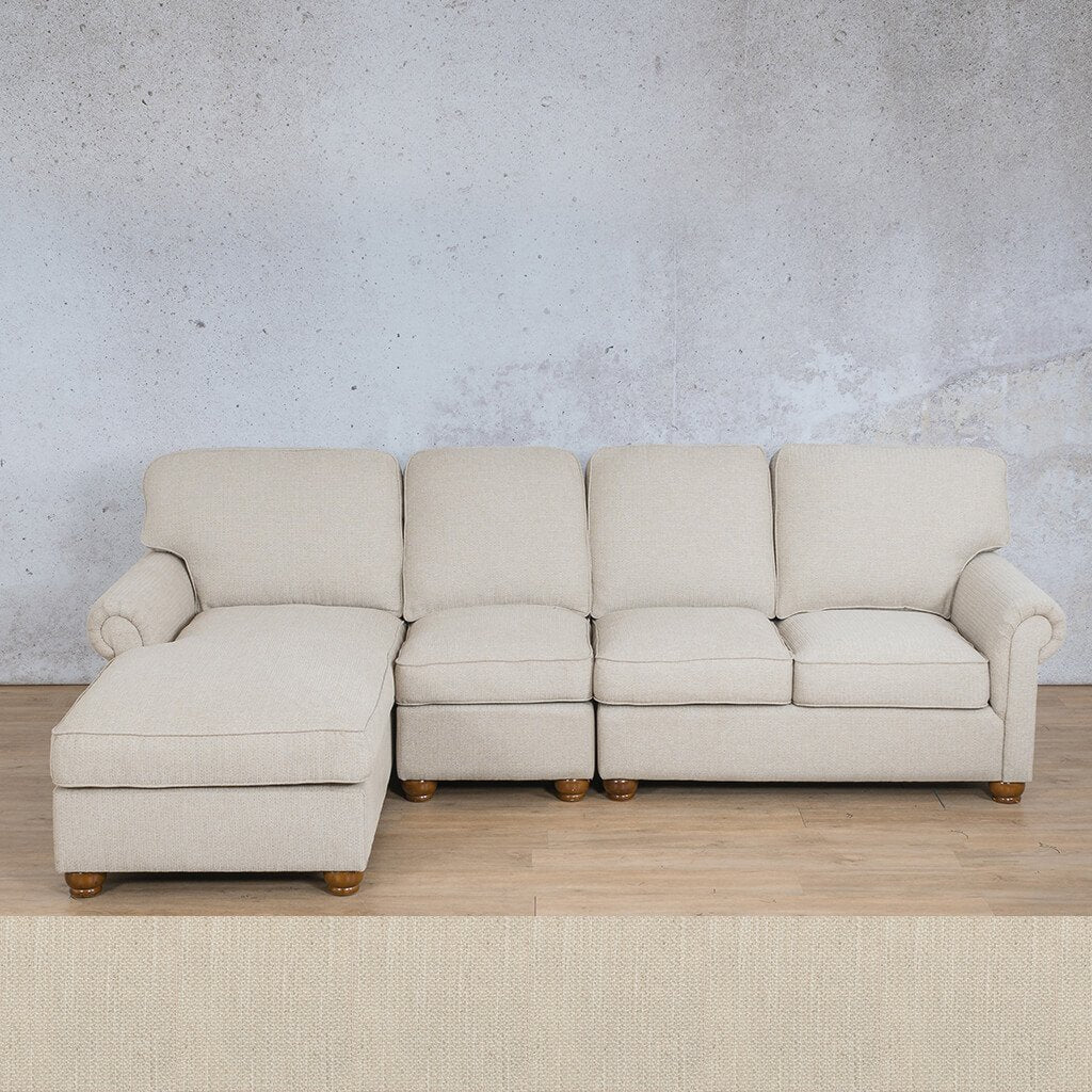 Salisbury Fabric Corner Couch | Chaise Modular U-Sofa Sectional-LHF | Frost Cream | Couches For Sale | Leather Gallery Couches