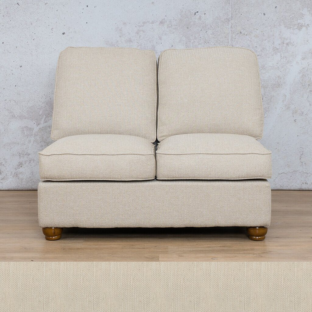 Salisbury Fabric Corner Couch | Armless Chair | 2 Seater Coach | Frost Cream | Couches For Sale | Leather Gallery Couches