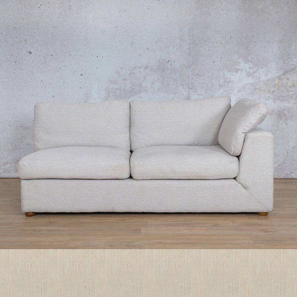 Skye Fabric Corner Couch | 2 Seater Left Arm Couch | Frost Cream | Couches For Sale | Leather Gallery Couches