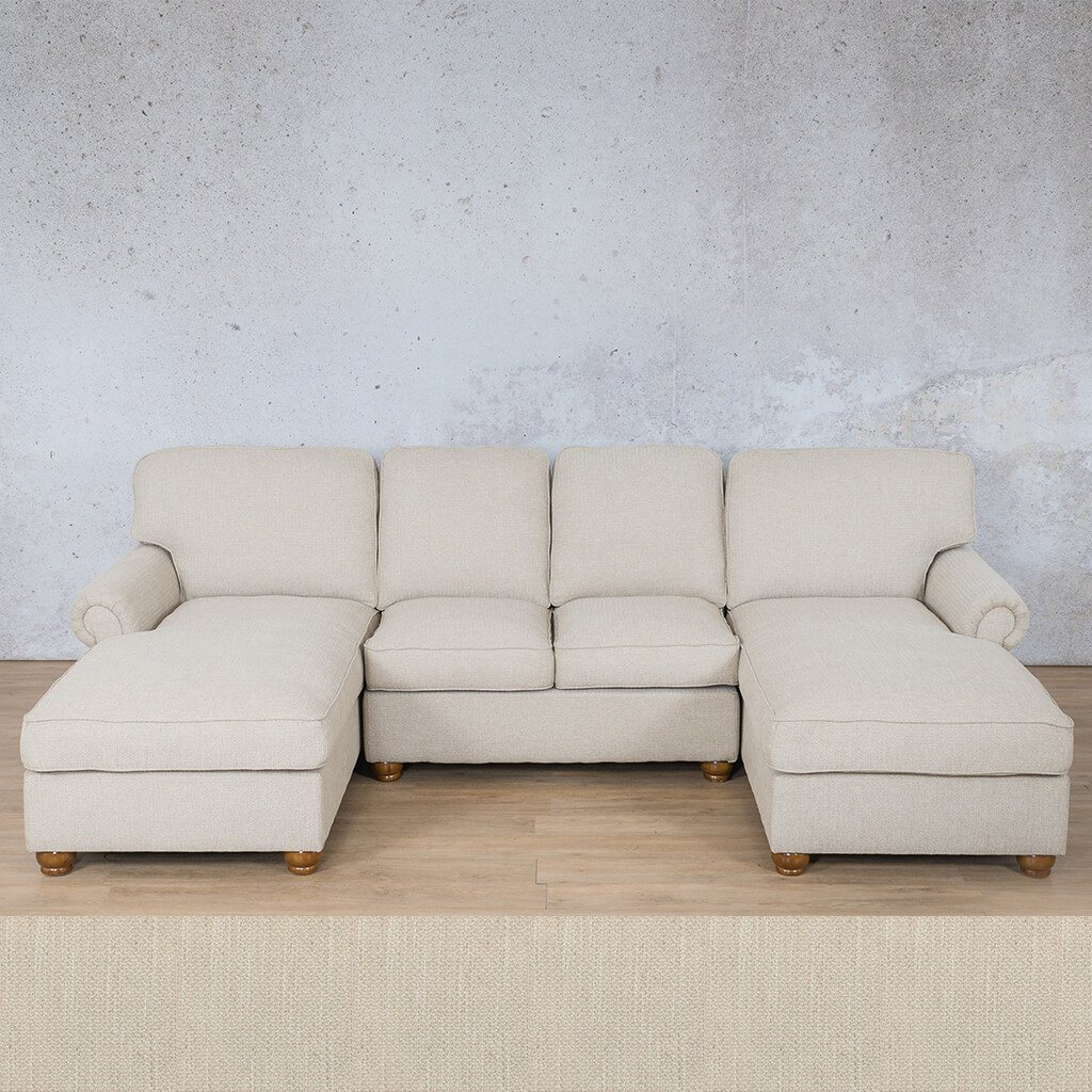Salisbury Fabric Corner Couch | Customisable Sectional | Frost Cream | Couches For Sale | Leather Gallery Couches