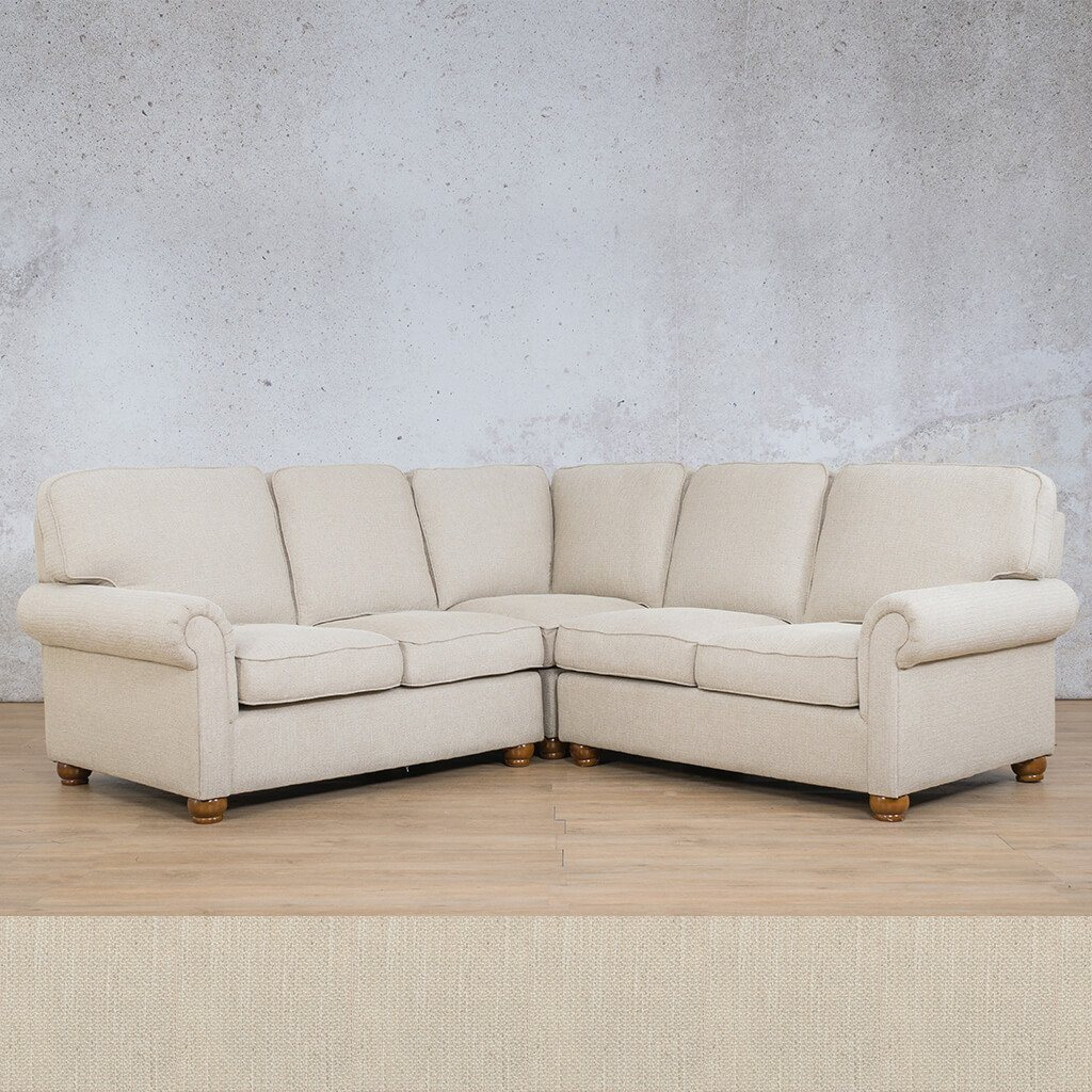 Salisbury Fabric Corner Couch | L-Sectional 5 Seater | Frost Cream | Couches For Sale | Leather Gallery Couches