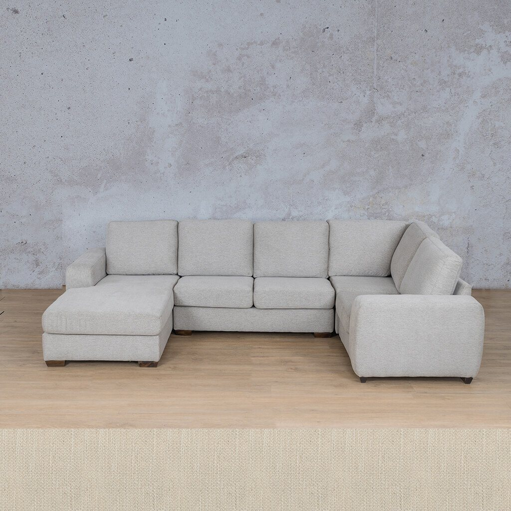 Stanford Fabric Corner Couch | U-Sofa Chaise-RHF | Frost Cream | Couches For Sale | Leather Gallery Couches