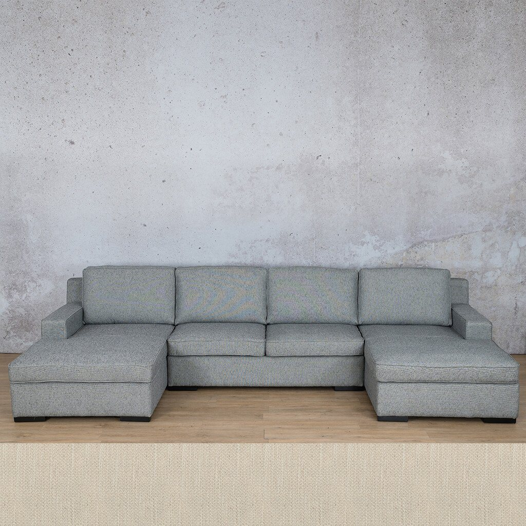 Arizona Fabric Corner Couch | U-Chaise Sectional | Frost Cream | Couches For Sale | Leather Gallery Couches