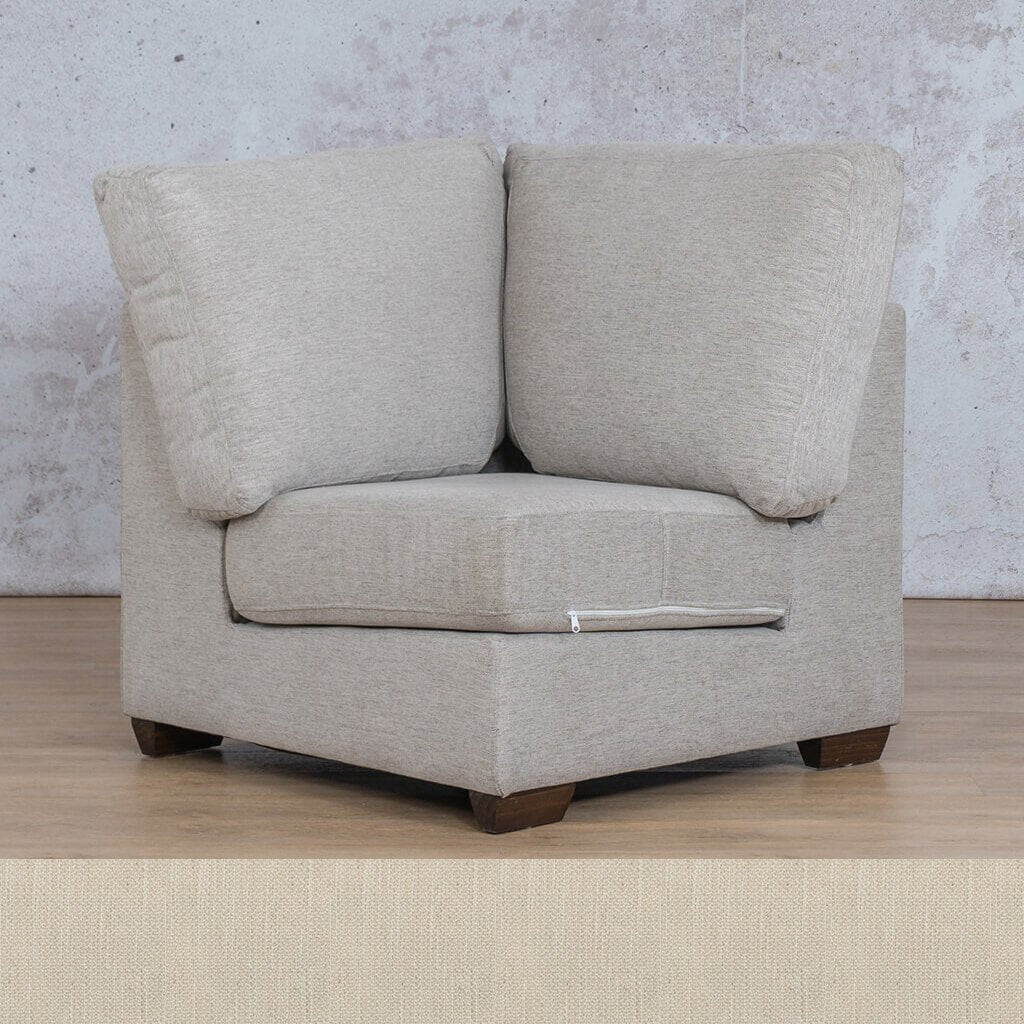 Stanford Fabric Corner Couch | 1 Seater Corner Couch | Frost Cream | Couches For Sale | Leather Gallery Couches