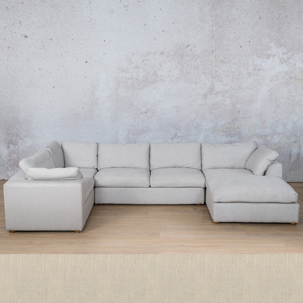 Skye Fabric Corner Couch | U-Sofa Chaise Sectional-RHF | Frost Cream | Couches For Sale | Leather Gallery Couches