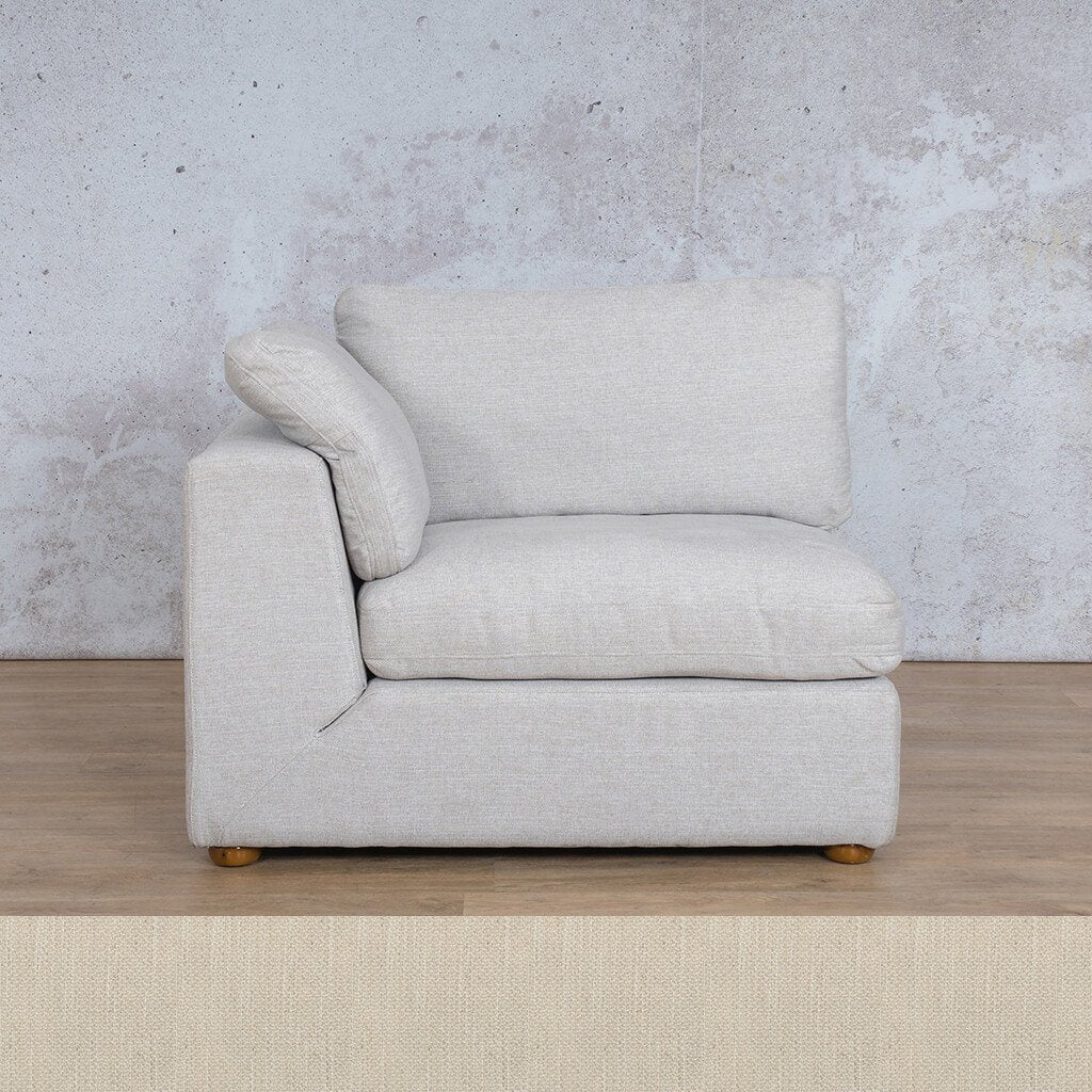 Skye Fabric Corner Couch | 1 Seater Right Arm Couch | Frost Cream | Couches For Sale | Leather Gallery Couches