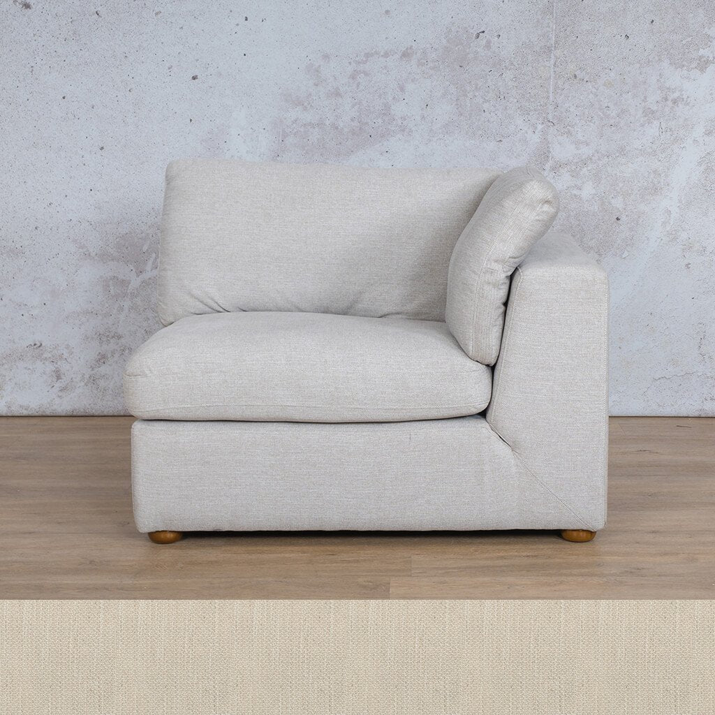 Skye Fabric Corner Couch | 1 Seater Left Arm Couch | Frost Cream | Couches For Sale | Leather Gallery Couches