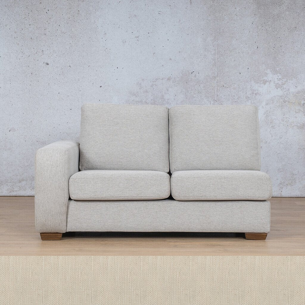 Stanford Fabric Corner Couch | 2 Seater Right Arm | Frost Cream | Couches For Sale | Leather Gallery Couches