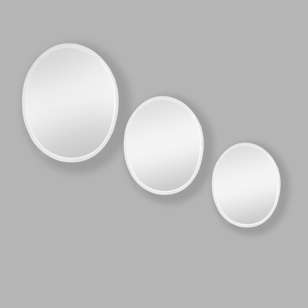Apollo Mirror Oval Silver Set of 3 | Oval | Leather Gallery