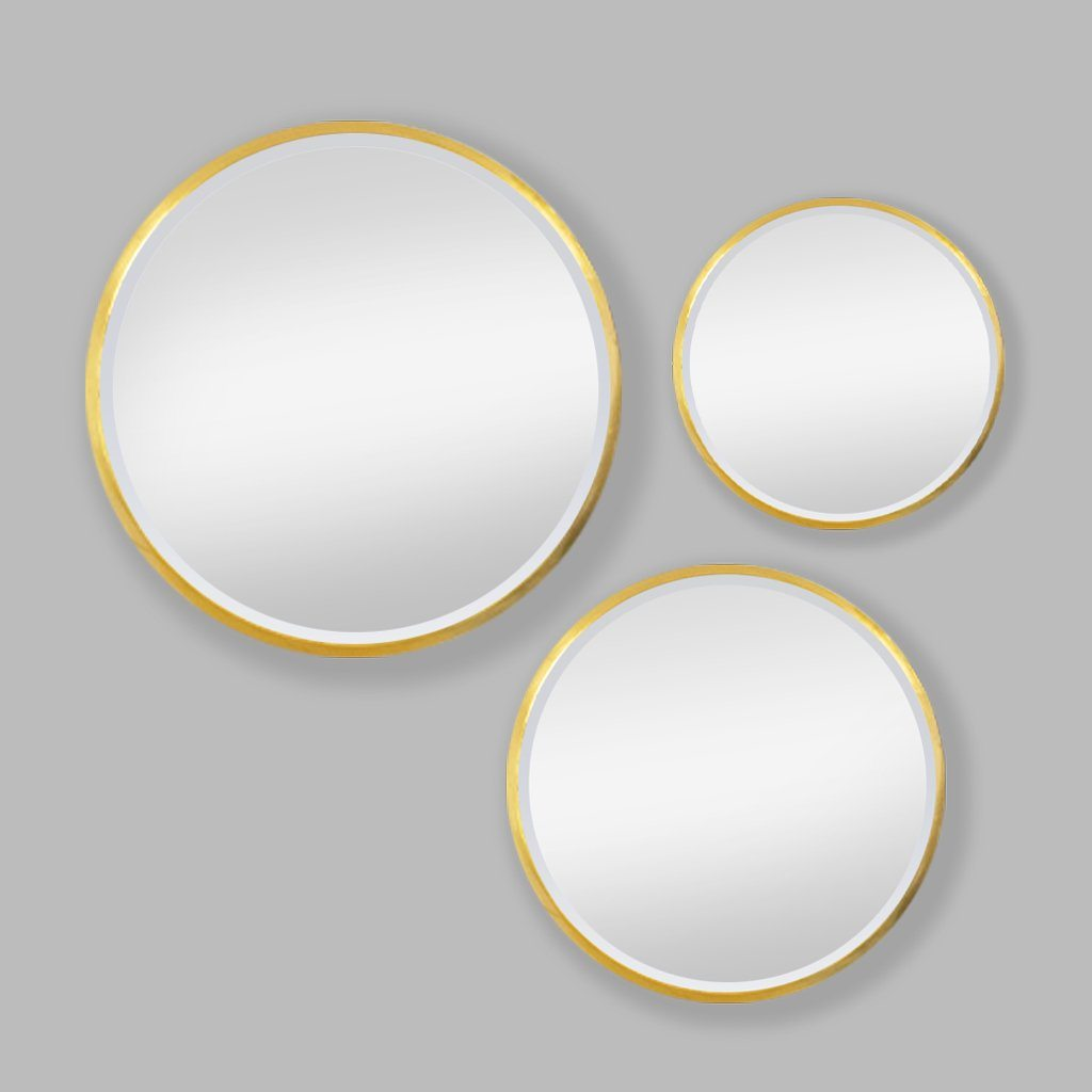 Apollo Mirror Round Gold Set of 3 | Leather Gallery