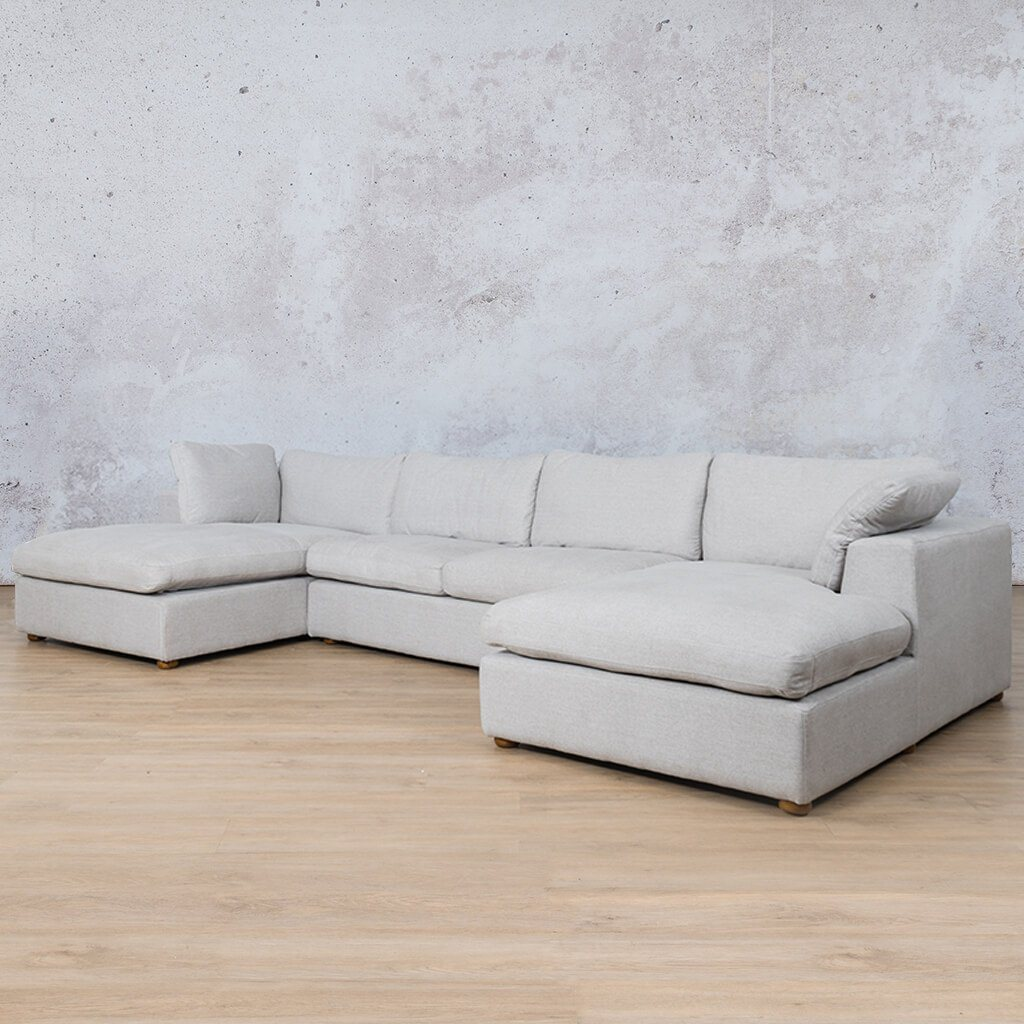 Skye Fabric Corner Couch | U-Sofa Sectional | Oyster-A | Front Angled | Couches For Sale | Leather Gallery Couches