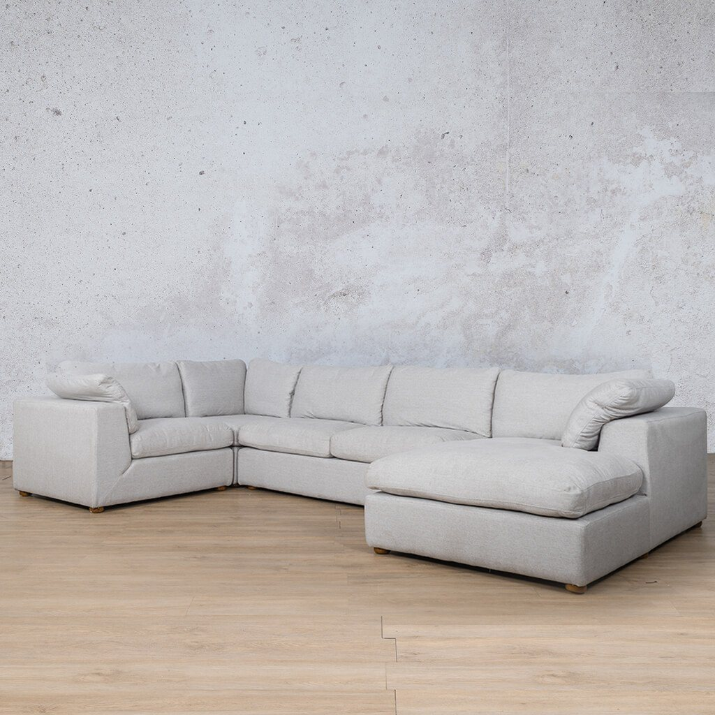 Skye Fabric Corner Couch | U-Sofa Chaise Sectional-RHF | Oyster-A | Front Angled | Couches For Sale | Leather Gallery Couches