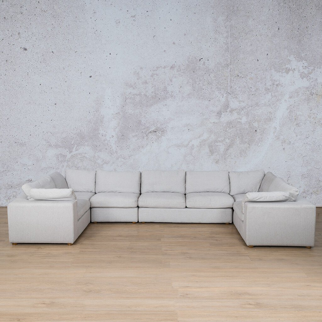 Skye Fabric Corner Couch | Modular U-Sofa Sectional | Oyster-A | Front Angled | Couches For Sale | Leather Gallery Couches