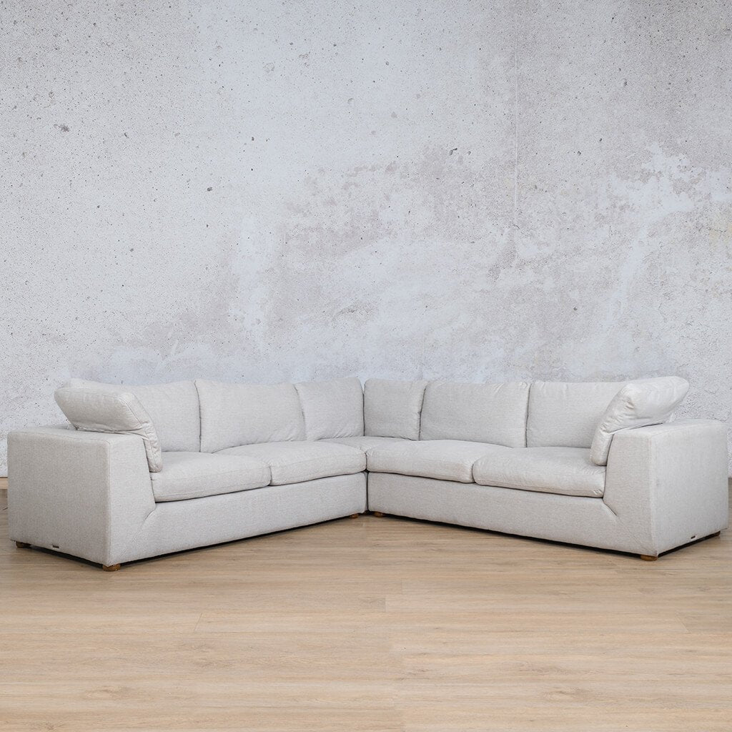 Skye Fabric Corner Couch | L-Sectional 5 Seater | Oyster-A | Front Angled | Couches For Sale | Leather Gallery Couches