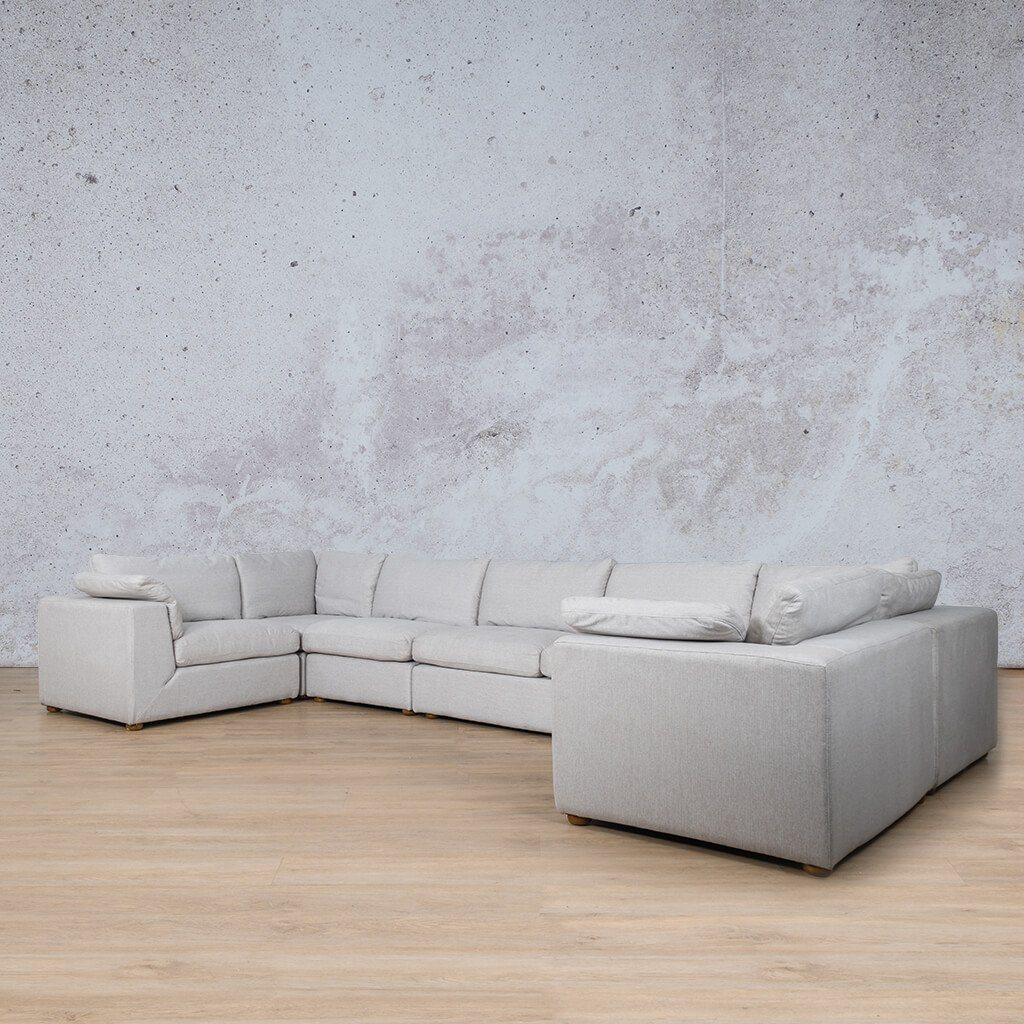 Skye Fabric Corner Couch | Modular U-Sofa Sectional | Oyster-A | Back Angled | Couches For Sale | Leather Gallery Couches