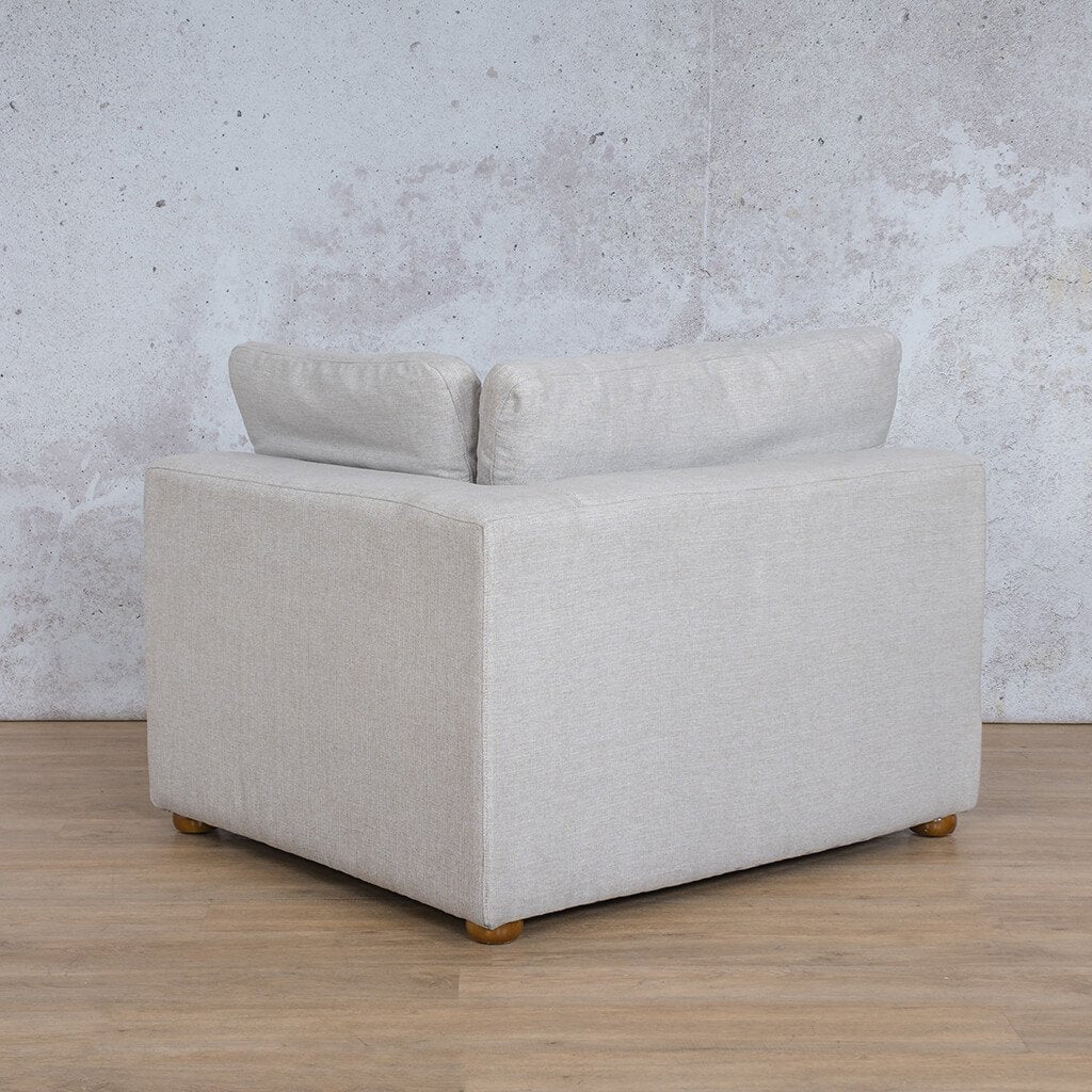 Skye Fabric Corner Couch | 1 Seater Left Arm Couch | Oyster-A | Back Angled | Couches For Sale | Leather Gallery Couches