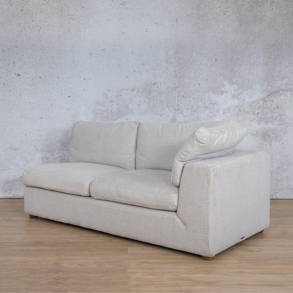 Skye Fabric Corner Couch | 2 Seater Left Arm Couch | Oyster-A | Front Angled | Couches For Sale | Leather Gallery Couches