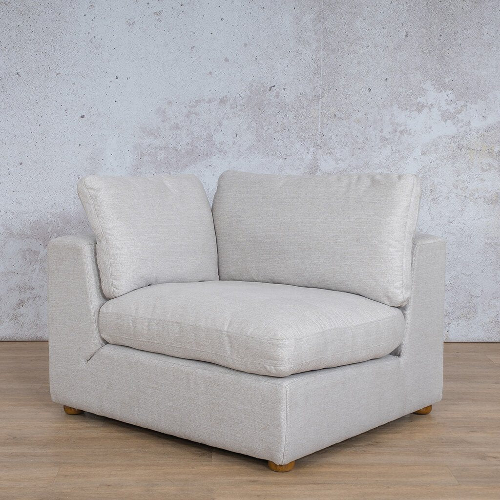 Skye Fabric Corner Couch | 1 Seater Right Arm Couch | Oyster-A | Front Angled | Couches For Sale | Leather Gallery Couches