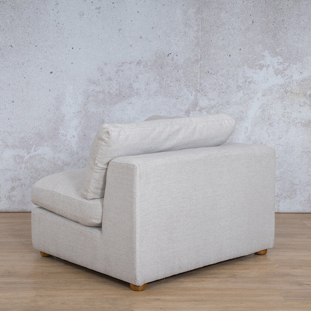 Skye Fabric Corner Couch | 1 Seater Right Arm Couch | Oyster-A | Back Angled | Couches For Sale | Leather Gallery Couches