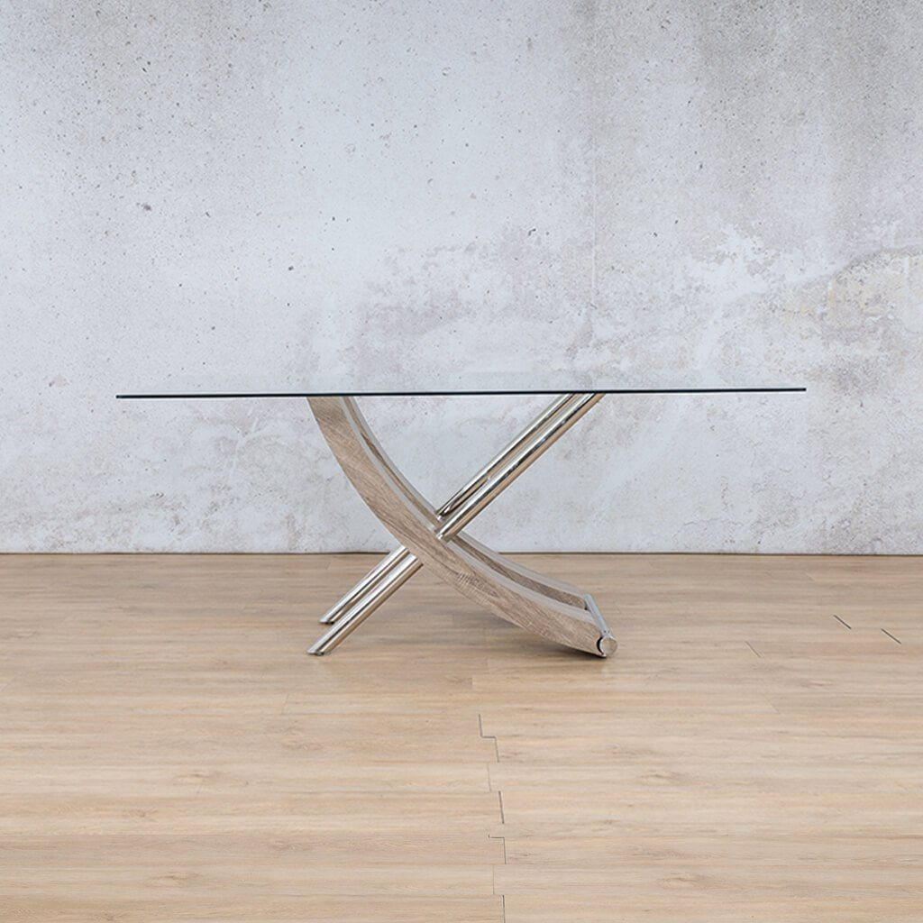 Tropez Dining Table | Glass Bevelled | Grey Oak Base | Leather Gallery Dining Sets