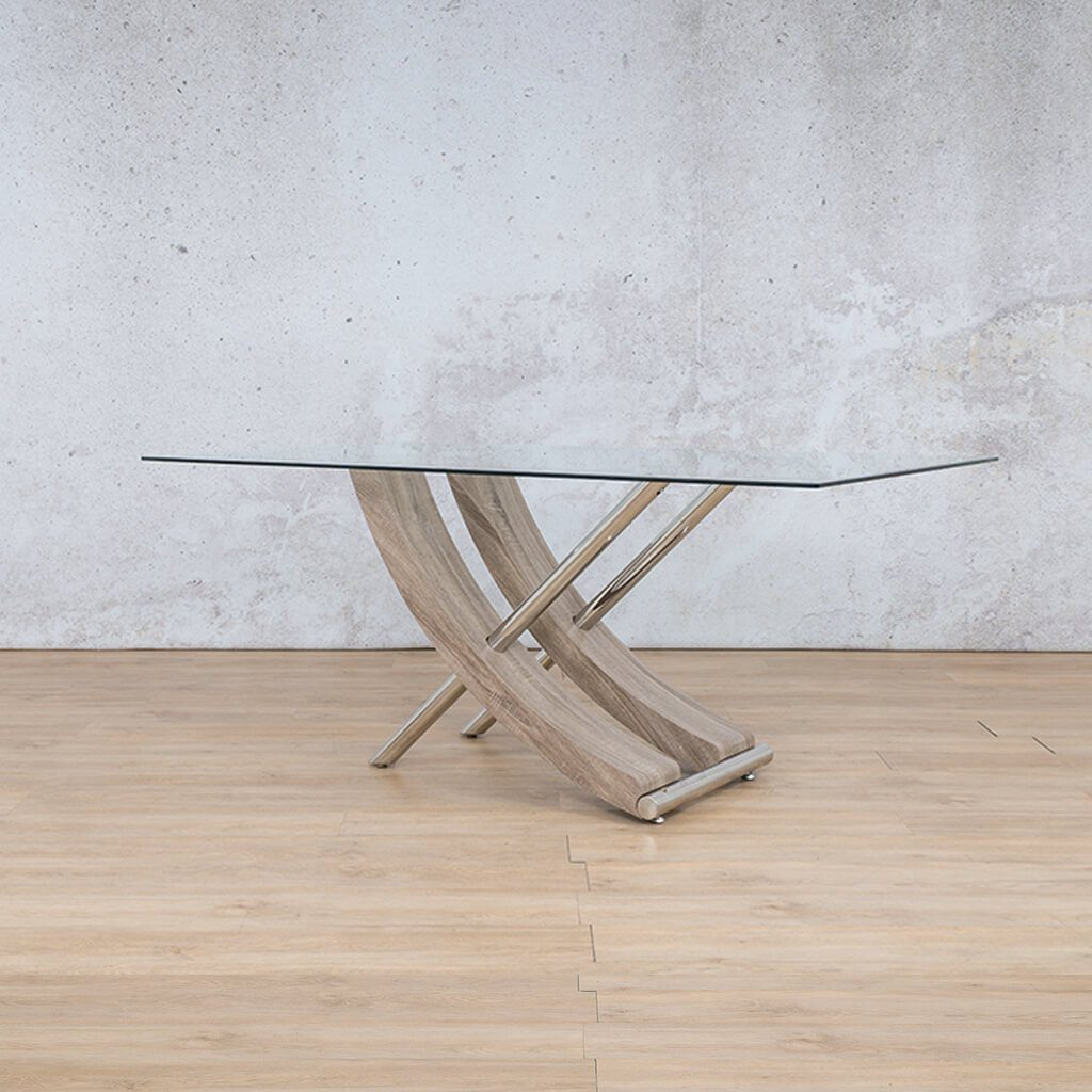 Tropez Dining Table | Glass Bevelled | Grey Oak Base | Front Angled | Leather Gallery Dining Sets