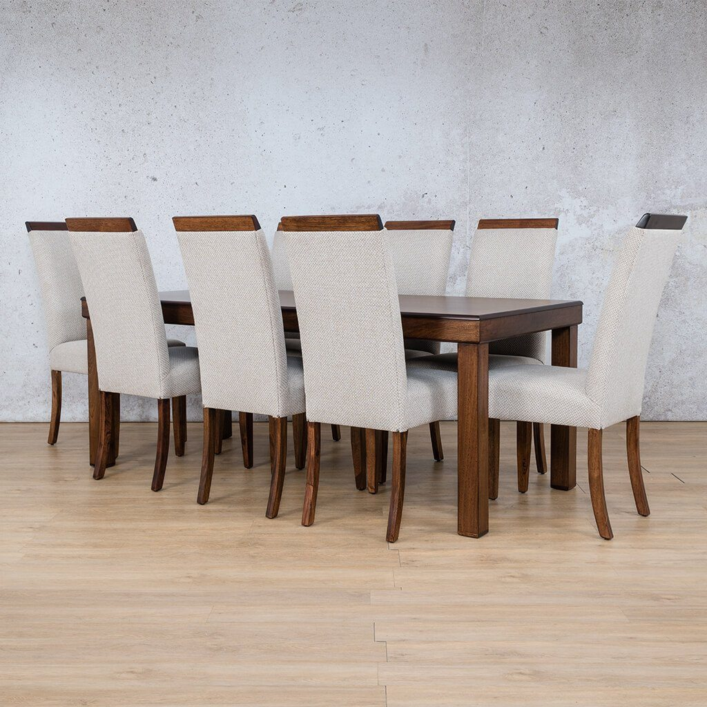 Hampton Dining Set | 8 Seater Dining Set | Angled Length View | Dining sets for Sale | Wood | Leather Gallery Dining Sets