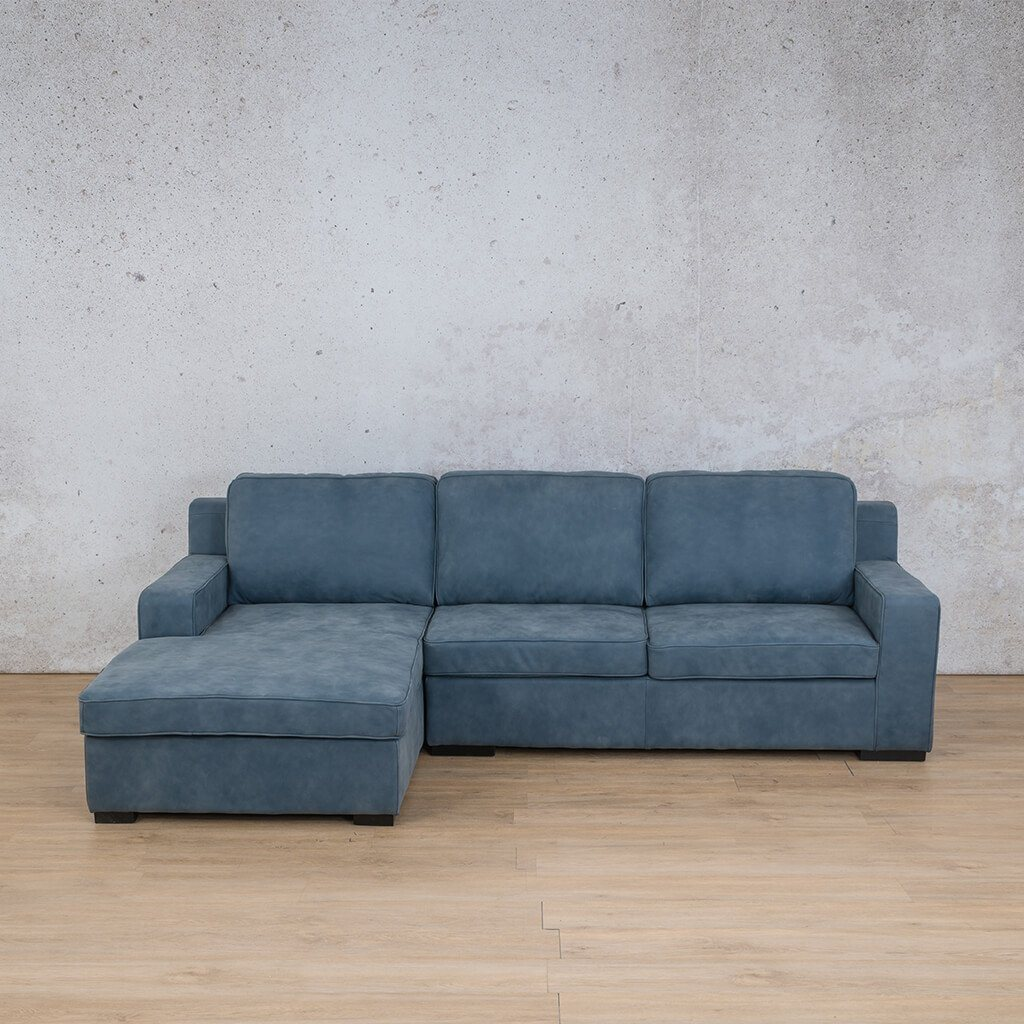 Arizona Leather Couch | Sofa Chaise LHF | Flux Blue | Leather Gallery