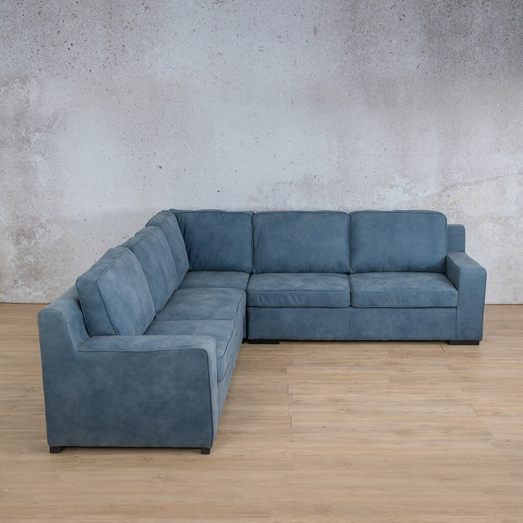 Arizona Leather Couch | L-Sectional 5 Seater | Flux Blue | Leather Gallery
