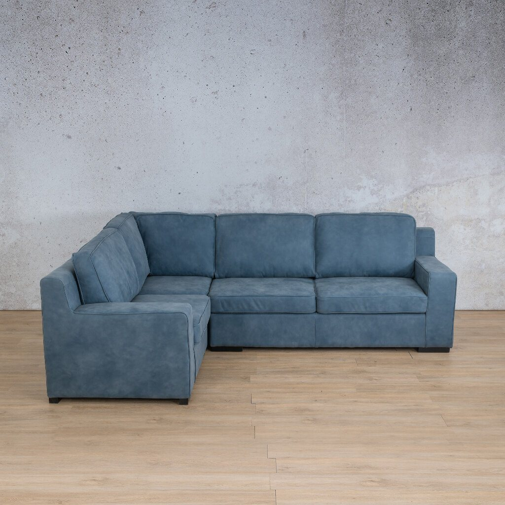 Arizona Leather Couch | L-Sectional 4 Seater | Flux Blue | Leather Gallery