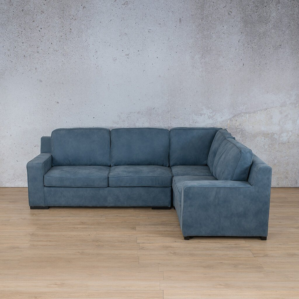 Arizona Leather Couch | L-Sectional 4 Seater RHF | Flux Blue | Leather Gallery