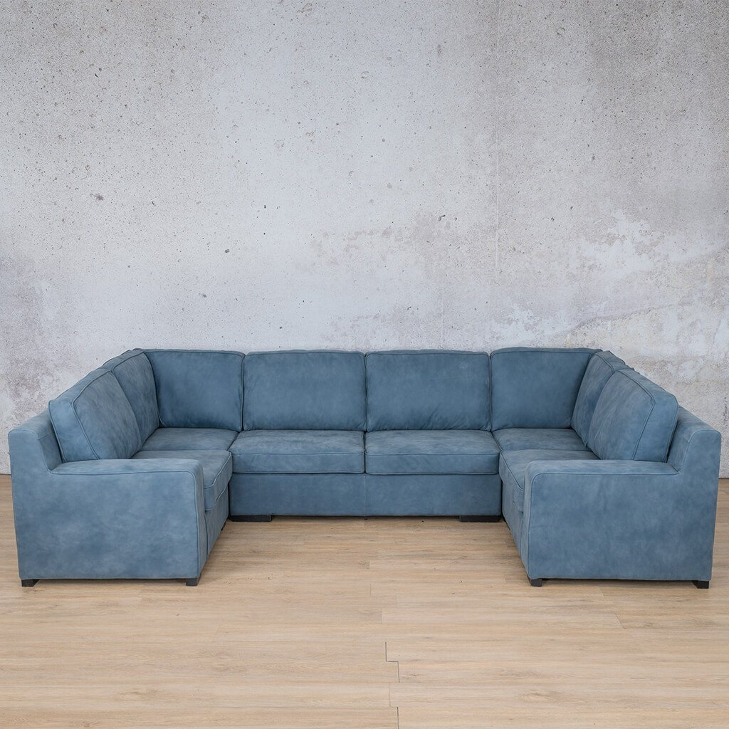Arizona Leather Couch | U-Sofa | Flux Blue | Leather Gallery