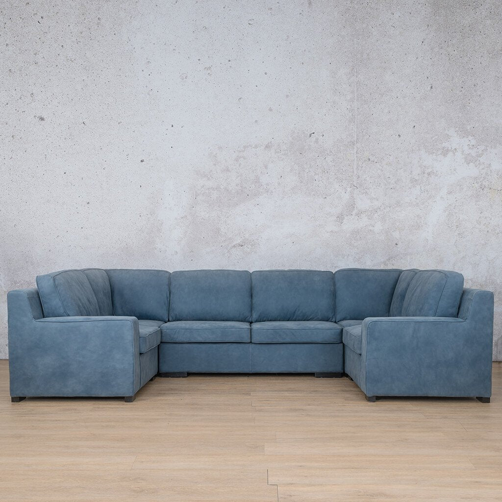 Arizona Leather Corner Couch | U-Sofa Sectional | Flux Blue | Couches For Sale | Leather Gallery Couches