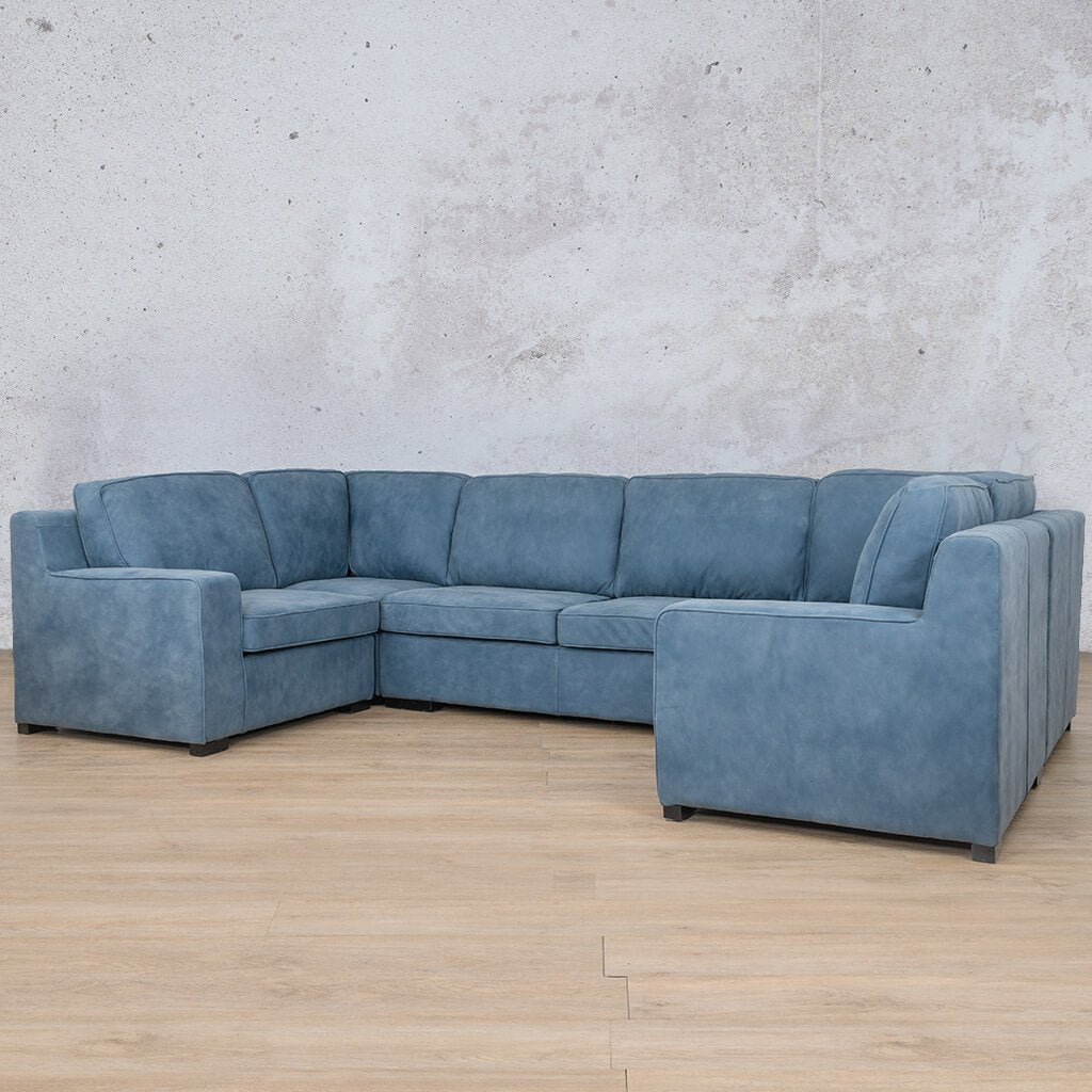 Arizona Leather Corner Couch | U-Sofa Sectional | Flux Blue | Front Angled | Couches For Sale | Leather Gallery Couches