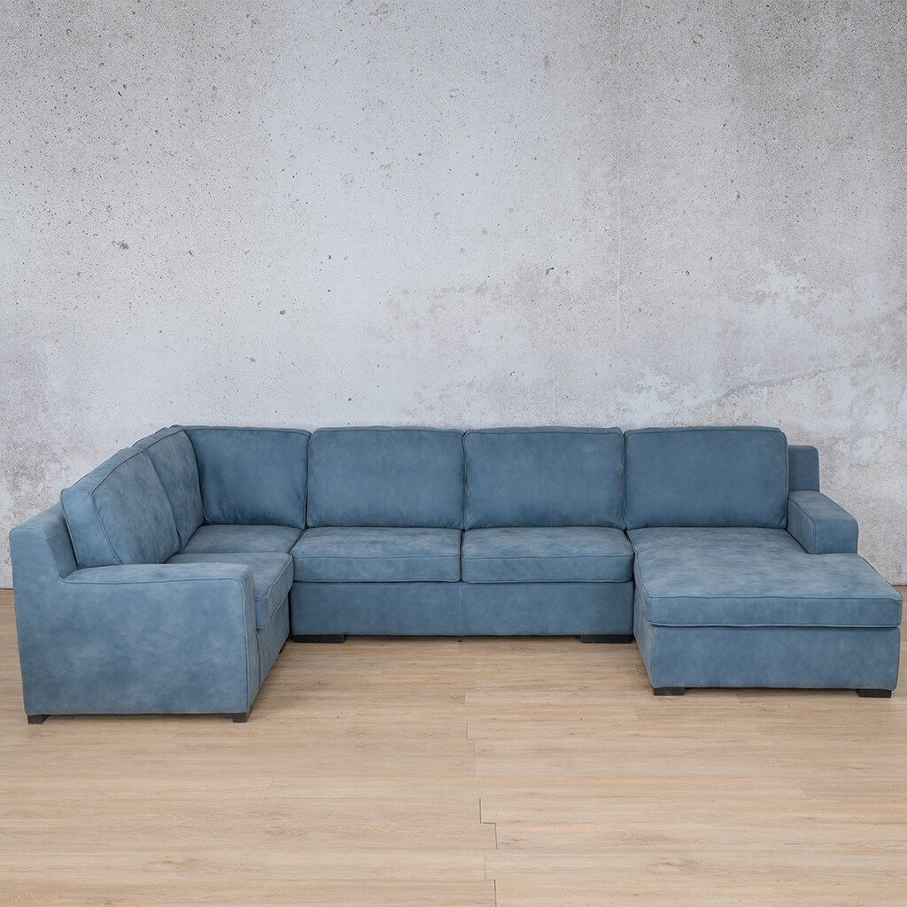 Arizona Leather Couch | U-Sofa Chaise RHF | Flux Blue | Leather Gallery
