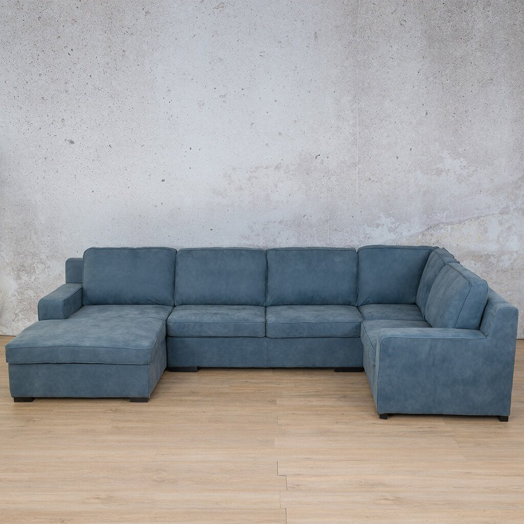 Arizona Leather Couch | U-Sofa Chaise LHF | Flux Blue | Leather Gallery