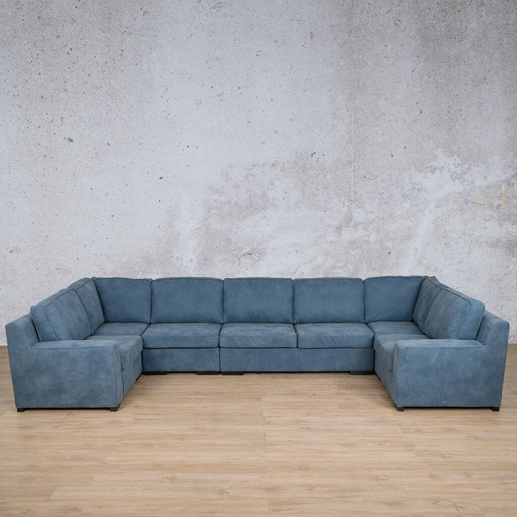 Arizona Leather Couch | Modular U-Sofa | Flux Blue | Leather Gallery