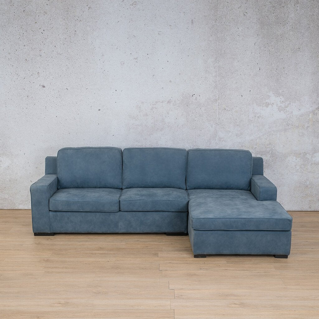 Arizona Leather Couch | Sofa Chaise RHF | Flux Blue | Leather Gallery