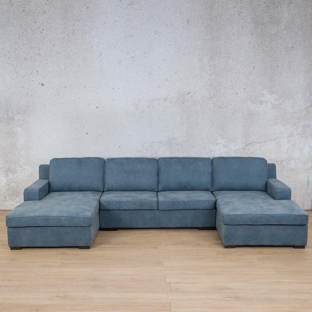 Arizona Leather Couch | Sofa U-Chaise | Flux Blue | Leather Gallery