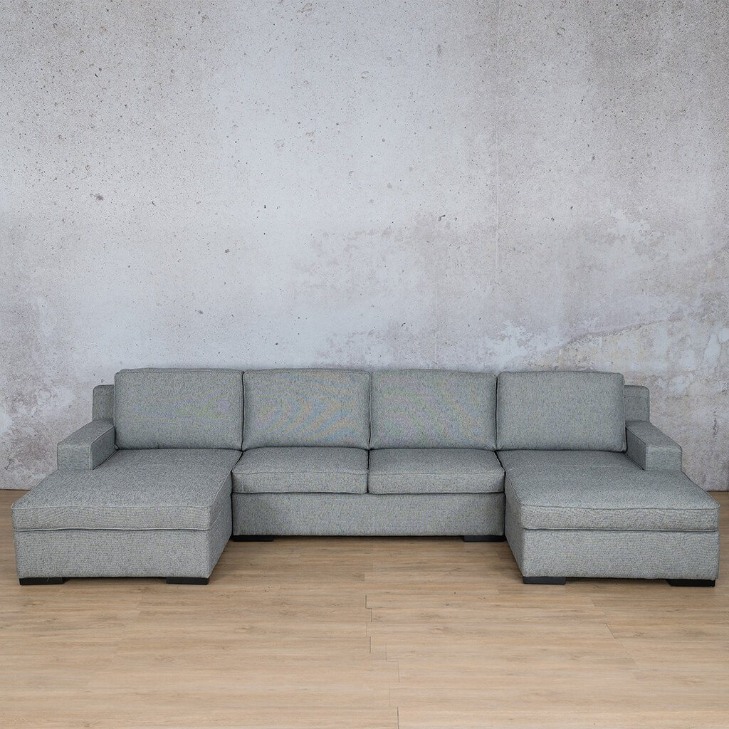 Arizona Fabric Corner Couch | U-Chaise Sectional | Quarry Black and White | Couches For Sale | Leather Gallery Couches